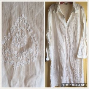 Long cotton embroidered tunic brand new beach
